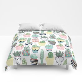 Cute Cacti in Pots Comforters