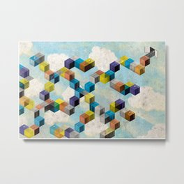 Abstract Geometric 3D Cubes Metal Print