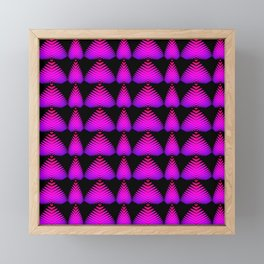 Alternating pattern of purple hearts and stripes on a black background. Framed Mini Art Print