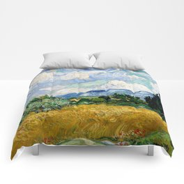 "Vincent van Gogh ""Wheat Field with Cypresses"" Comforters"