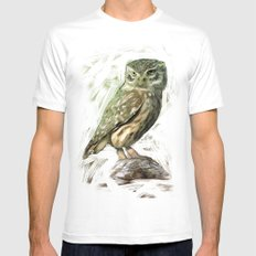 Olive Owl Mens Fitted Tee MEDIUM White