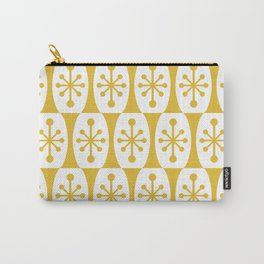 Mid Century Modern Atomic Fusion Pattern Mustard Yellow Carry-All Pouch