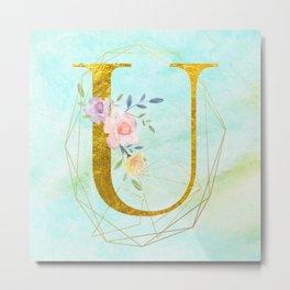 Gold Foil Alphabet Letter U Initials Monogram Frame with a Gold Geometric Wreath Metal Print