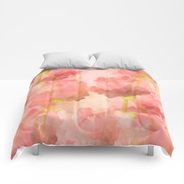 Delicate Pink Watercolor Floral Abtract Comforters