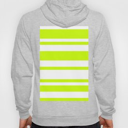 Mixed Horizontal Stripes - White and Fluorescent Yellow Hoody
