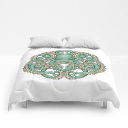 Octopus Emblem Green Comforters