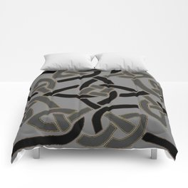 Charcoal Grey Color Celtic Art Comforters