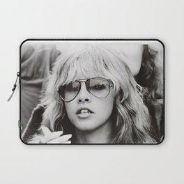 Stevie Nicks Young Black and white Retro Silk Poster Frameless Laptop Sleeve