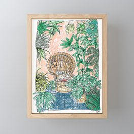 Tropical Coral Jungle Room with Sleeping Cat Framed Mini Art Print