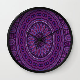 Lovely Healing Mandalas in Brilliant Colors: Purple, Raspberry, Grape, Wine, and White Wall Clock