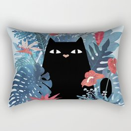 Popoki in Blue Rectangular Pillow