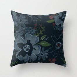 Moody Blues Floral Pattern Throw Pillow