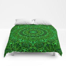 Green Spiritual Mandala Garden Comforters