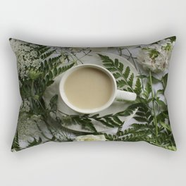Flowers and Coffee Rectangular Pillow