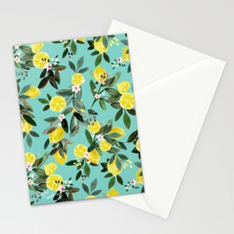 Summer Lemon Floral Stationery Cards