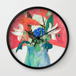 Bouquet of Flowers in Alexandrite Inspired Vase against Salmon Wall Wall Clock
