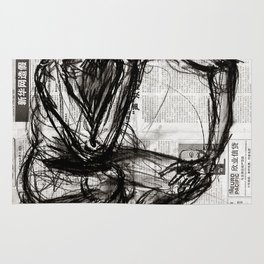 Instinctive - Charcoal on Newspaper Figure Drawing Rug