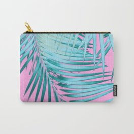 Palm Leaves Pink Blue Vibes #1 #tropical #decor #art #society6 Carry-All Pouch