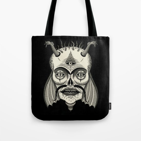 Three-Eyed Skull with Unibrow Tote Bag