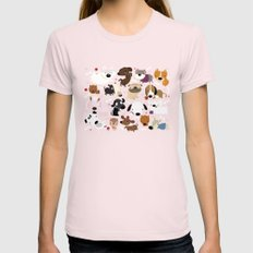Dog pattern Light Pink LARGE Womens Fitted Tee