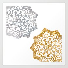 Gold and silver lace floral Art Print