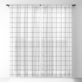 Grid Simple Line White Minimalist Sheer Curtain