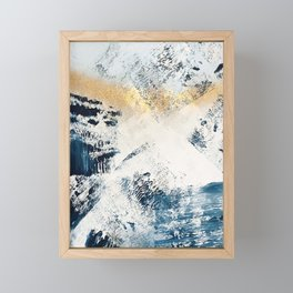 Sunset [1]: a bright, colorful abstract piece in blue, gold, and white by Alyssa Hamilton Art Framed Mini Art Print