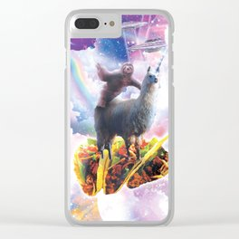Space Sloth Riding Llama Unicorn - Taco & Donut Clear iPhone Case