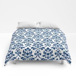 Feuille Damask Pattern Dark Blue on White Comforters