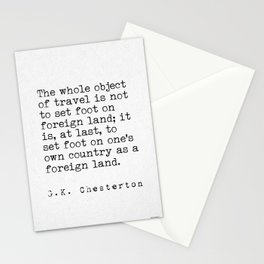 G. K. Chesterton travel quote Stationery Cards