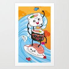 Surfin' sushi Art Print