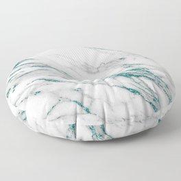 Gray Marble Aqua Teal Metallic Glitter Foil Style Floor Pillow