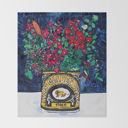 Wild Flowers in Golden Syrup Tin on Blue Throw Blanket
