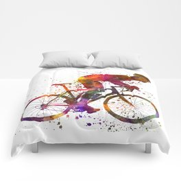 cyclist road bicycle Comforters