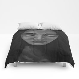 On My Mind by Lu, black-and-white Comforters