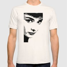 Audrey Hepburn Close Up SMALL Mens Fitted Tee Natural