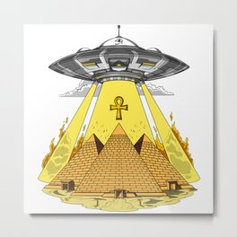 Alien Abduction Egyptian Pyramids Anunnaki UFO Metal Print