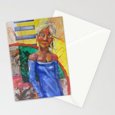 Girl in blue dress Stationery Cards