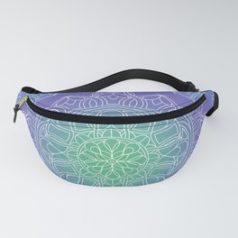 White Lace Mandala in Blue, Green and Purple Fanny Pack