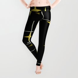 Mid Century Modern Stars Black Yellow Leggings