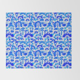 Exotic Garden - Blue Throw Blanket