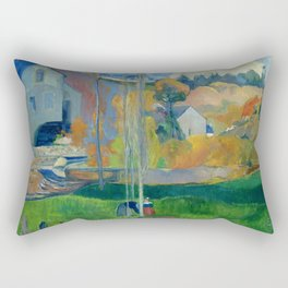 """Paul Gauguin """"Landscape in Brittany. The David Mill"""" Rectangular Pillow"""