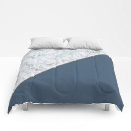 Elegant mauve blue white marble faux gold geometric Comforters