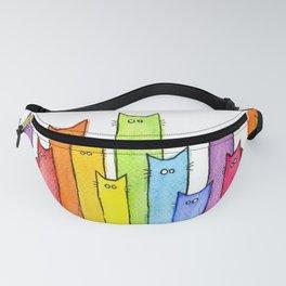 Cat Rainbow Watercolor Pattern Fanny Pack