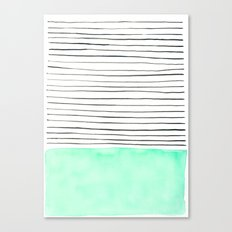 Stripes and watercolor Canvas Print