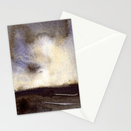 Watercolor landscape painting of sunset. Moody artwork landscape painting Stationery Cards