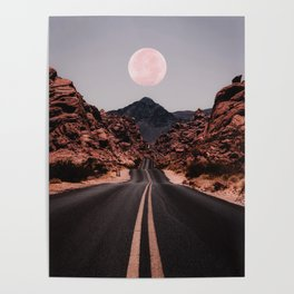 Road Red Moon Poster