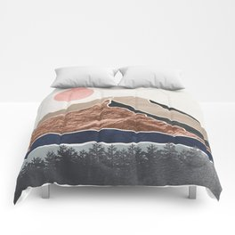 Mount Hood // Daylight Art Print Oregon Stratovolcano Rose Gold Silver Blue Cream Black Mountain Comforters