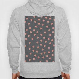 Simply Dots Salmon Pink on Storm Gray Hoody