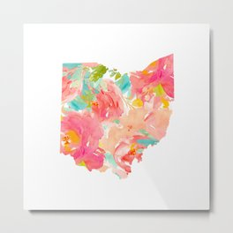 floral ohio state map Metal Print